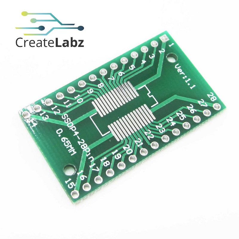SOP28 SSOP28 28-Pins SMD to DIP Adapter Converter PCB
