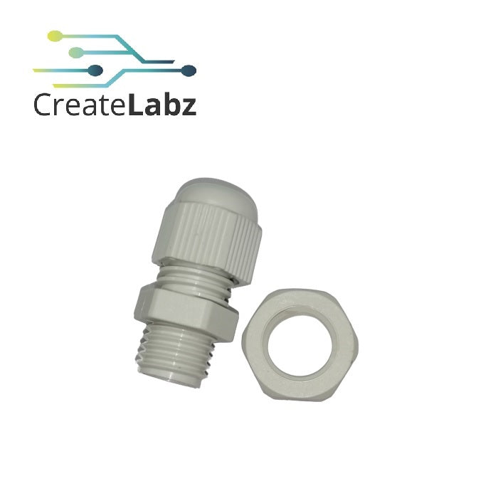 PG7 Waterproof Cable Gland, Light Grey 12.5mm x 9mm