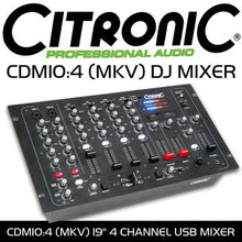 Load image into Gallery viewer, USB DJ MIXER - Citronic CDM10:4 4 Channel - 19 Inch 6U Rack Mount Product Code: 171.135
