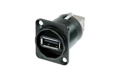 Neutrik -  NAUSB-W-B - Reversible USB 2.0 gender changer (type A and B), black D-housing.