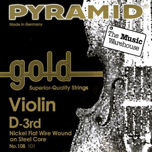 Pyramid Gold Violin D String - 1/2 Size