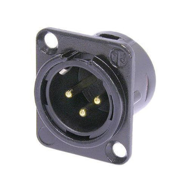 Neutrik - NC3MD-L-B-1 - 3 pole male receptacle, solder cups, black metal housing, gold contacts.