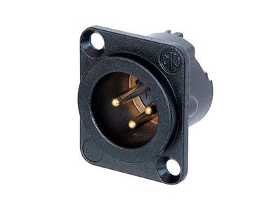 Neutrik - NC3MD-LX-B - 3 pole male receptacle, solder cups, black metal housing, gold contacts.