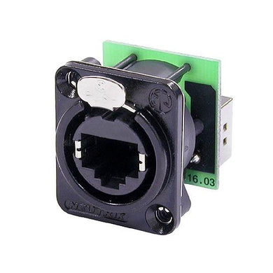 Neutrik - NE8FDP-B - RJ45 feedthrough receptacle, black D-shape metal flange with the latch lock, mounting screws included.