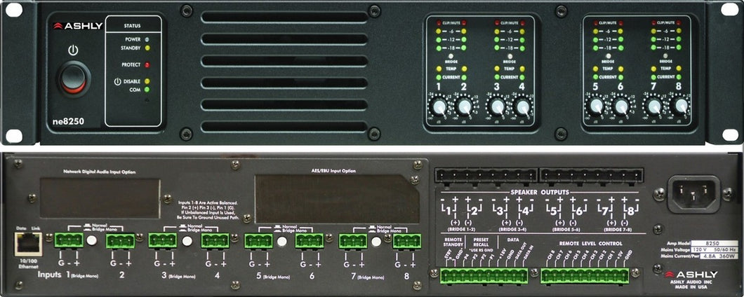 Ashly Network Power Amp 8 x 250W @ 70V w Protea DSP 2U