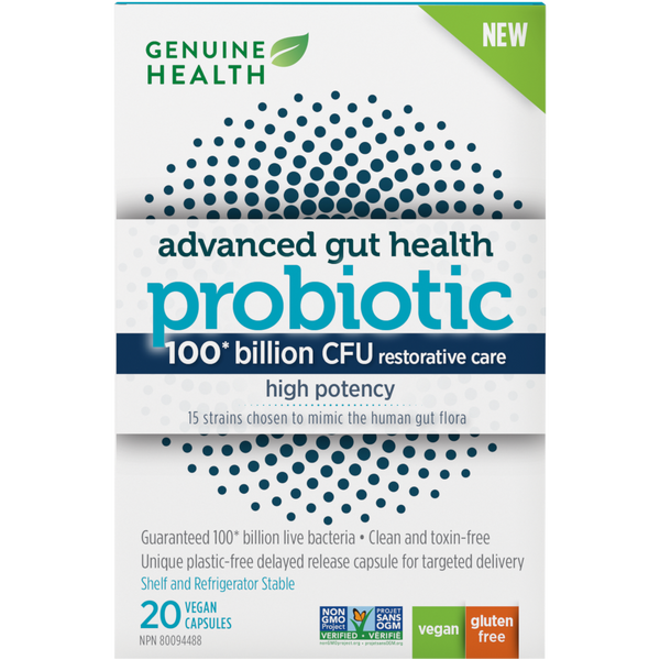 Genuine Health Advanced Gut Health Probiotic High Potency 100 billion CFU 20 capsules