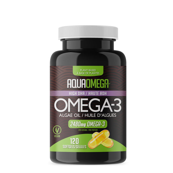AquaOmega High DHA Omega 3 Algae Oil 120 Softgels