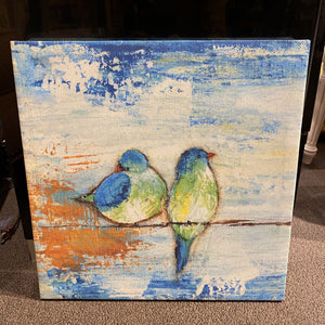 "16"" X 16"" Blue Canvas Birds Sitting on a Wire"