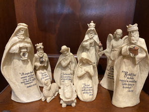 9 Piece ivory Nativity Set w/Scriptures