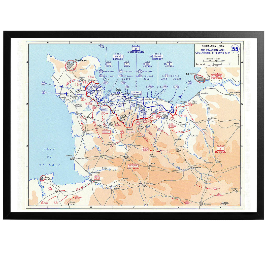 D-day Invasion - War Map Poster