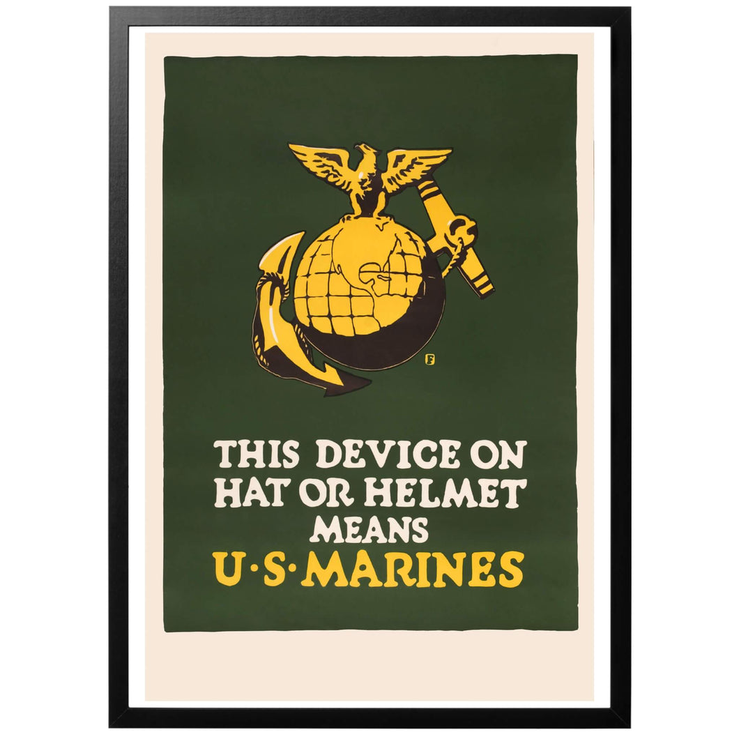 This device on hat or helmet means U.S. Marines Poster