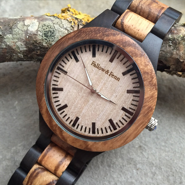 'Whitebrook' Two-Tone Contrast Unisex Wooden Watch