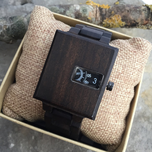 'Earlswood' Wooden Watch With Square Face