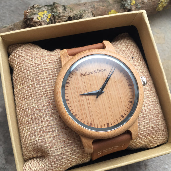 'Shirenewton' Unisex Wooden Watch With Leather Strap