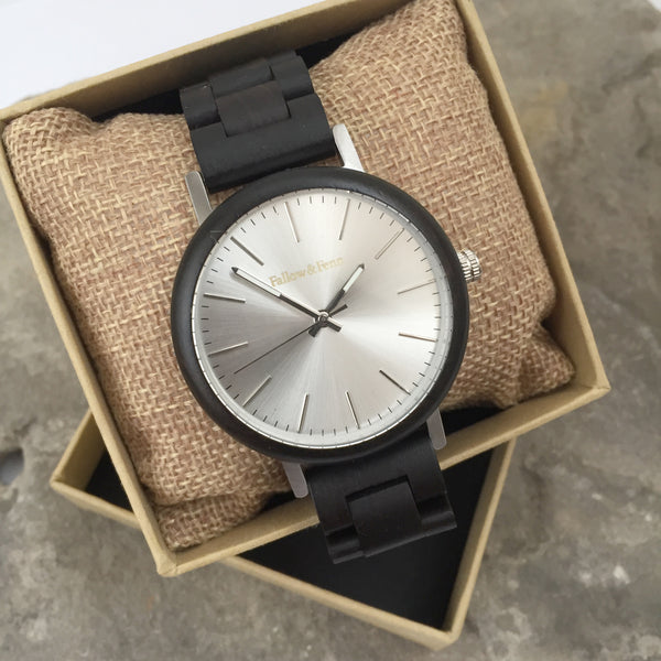 'St. Arvans' Dark Wooden Watch With Metallic Details