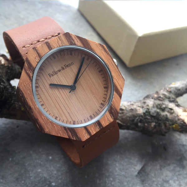 'Llanishen' Wooden Watch With Leather Strap And Geometric Face