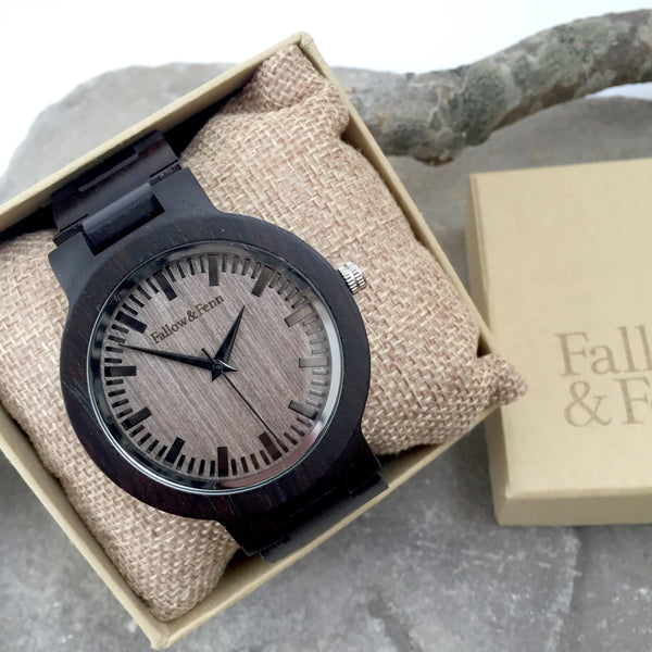'Usk' Dark Wooden Watch With Link Strap