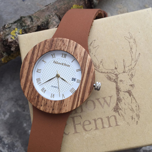 'Little Mill' Wooden Watch With Ornate Face