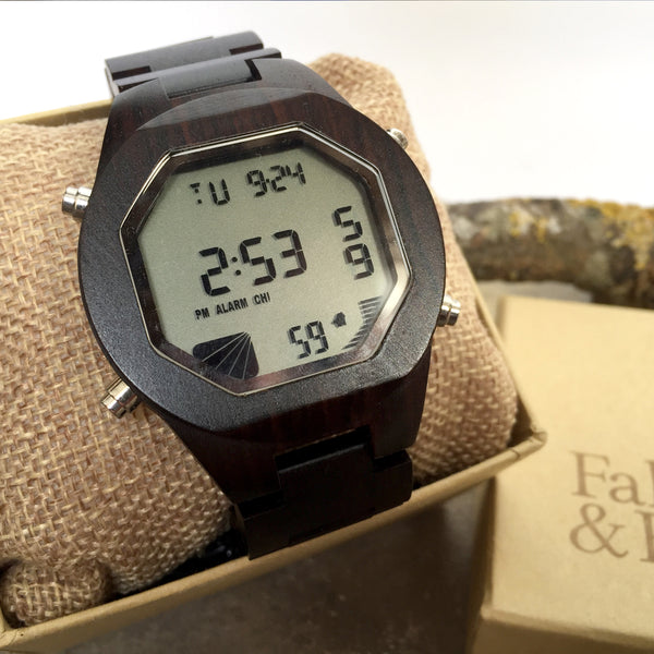 'Llansoy' Digital Wooden Watch