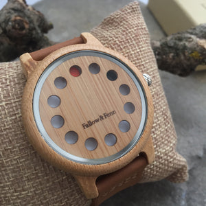 'Cross Ash' Unisex Wooden Watch With Cut Out Face