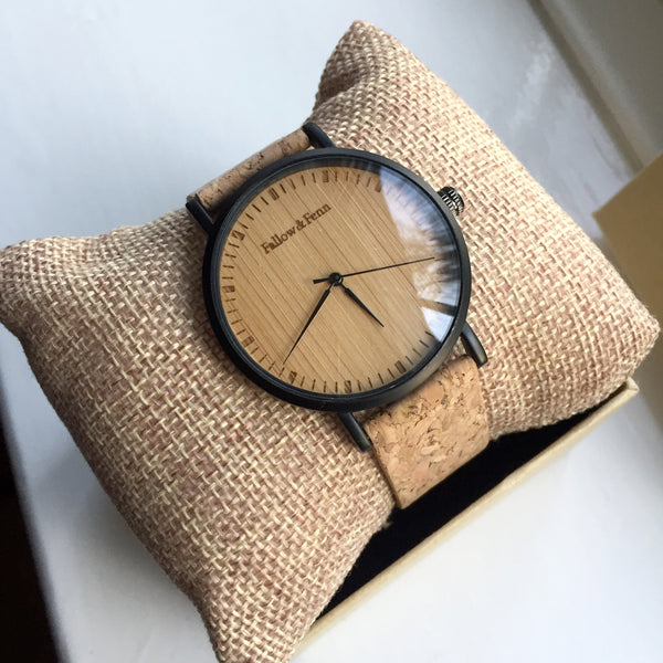 'Cardiff' Unisex Wooden Watch With Cork Strap