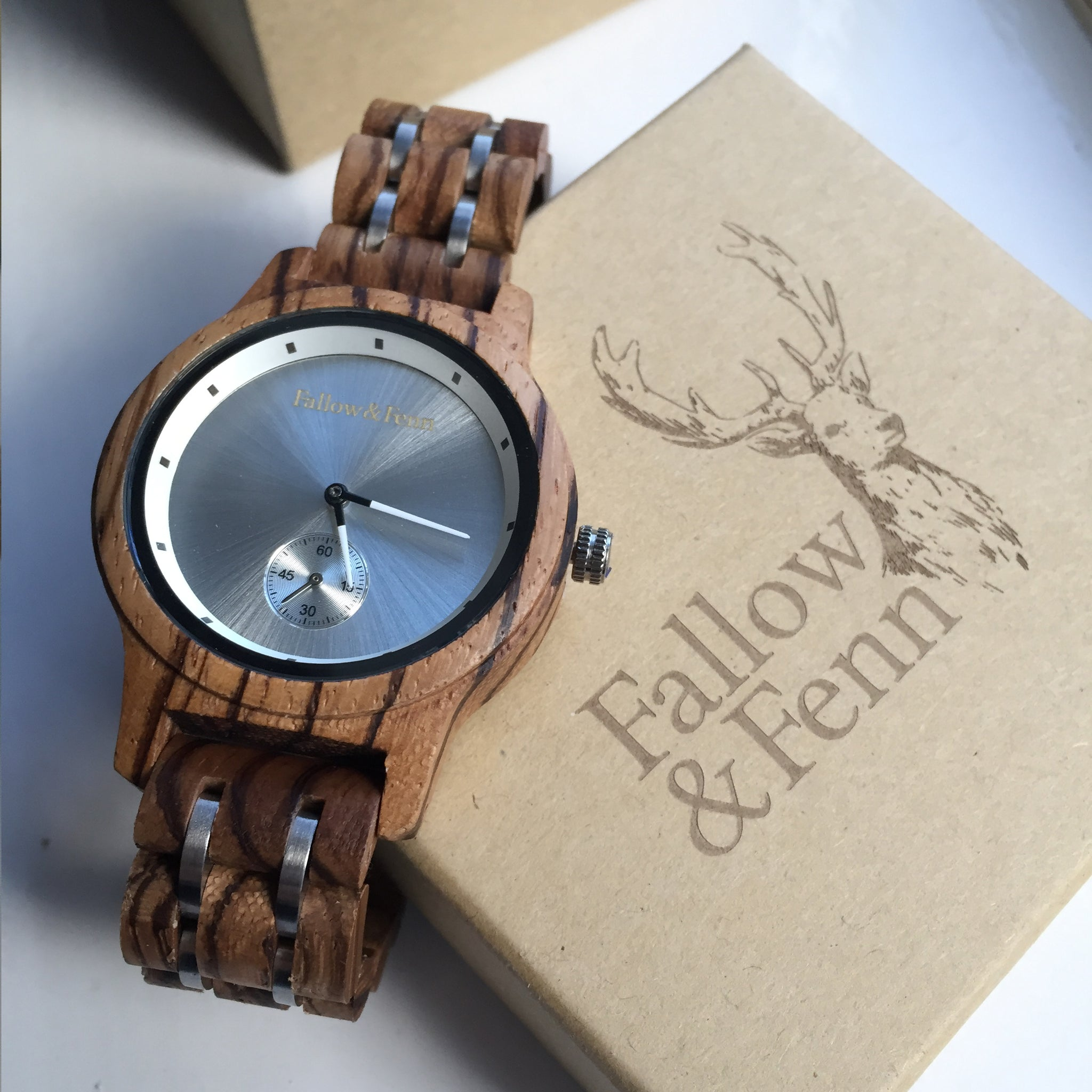 'Crickhowell' Unisex Wooden Watch With Stainless Steel Details
