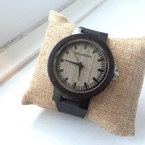 'Blackwood' Unisex Wooden Watch With Leather Strap