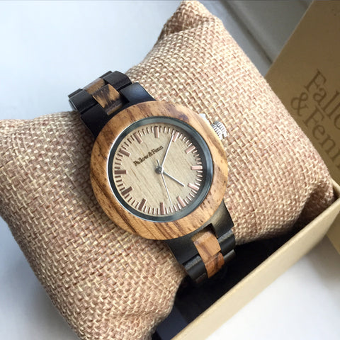 'Lady Whitebrook' Two-Tone Contrast Wooden Watch