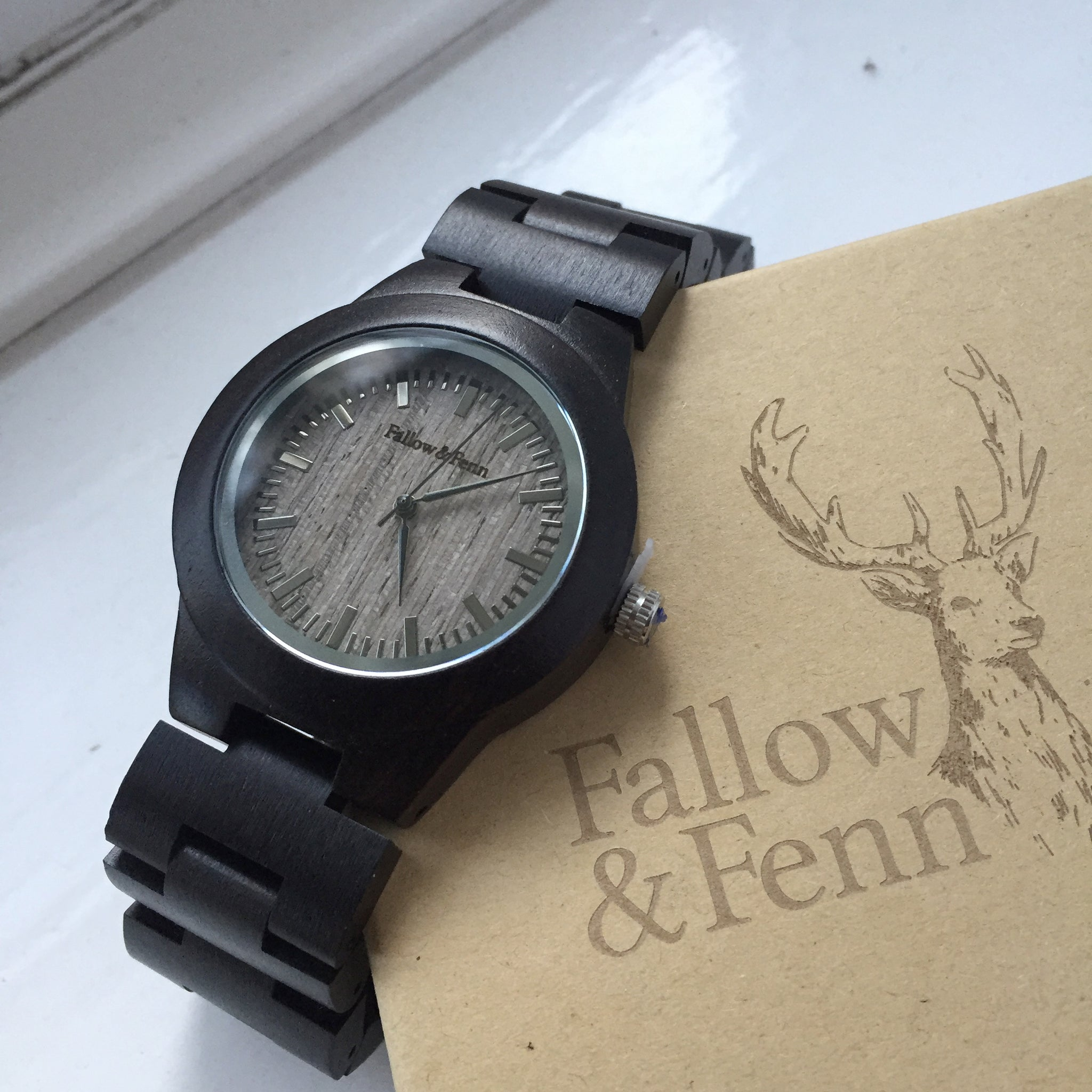 'Lady Usk' Dark Wooden Watch With Link Strap