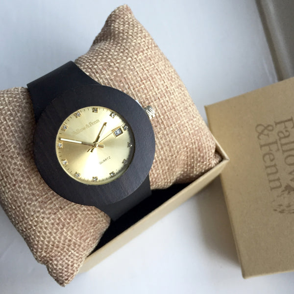 'Llanelli' Wooden Watch With Gold Face