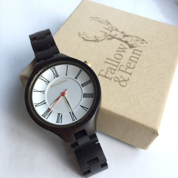 'Lady Monmouth' Wooden Watch With Roman Numeral Face