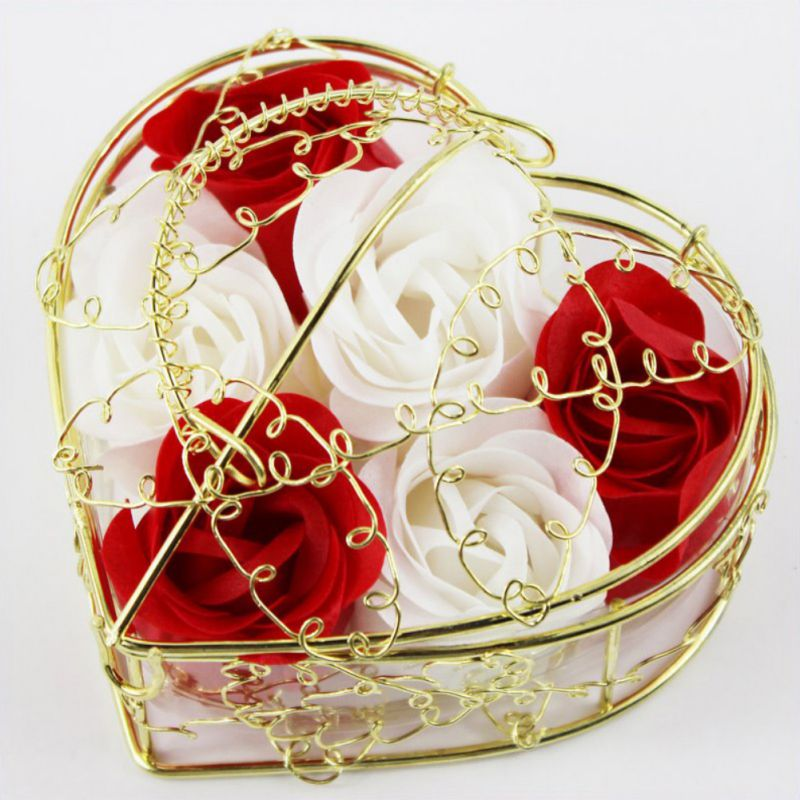 6 Pcs Soap Rose Flower Petal Soap In Heart Shaped Iron Basket Valentine's Day Gift Artificial Flowers Wedding Decoration