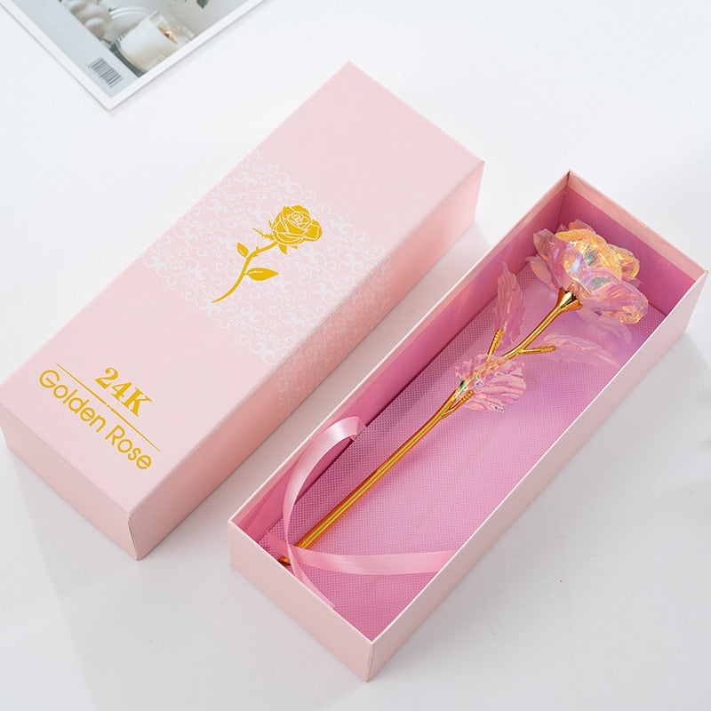 Drop Shipping Valentine's Day Creative Gift 24K Foil Gold Rose Lasts Forever Love Wedding Decor Rose With Pink Packaging