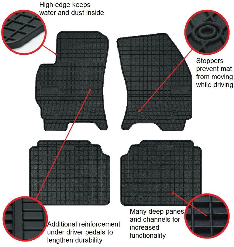 Car Mats For Fiat 500, 500C 2007 - Current Ford Fiesta 2008 - Current- No Smell - Custom Cut 4pc set MADE IN EUROPE