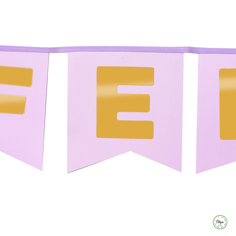 BANDERIN PARED FELIZ CUMPLE  LETRAS METALIZADAS