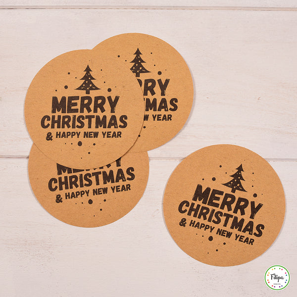 POSAVASOS MERRY CHRISTMAS & HAPPY NEW YEAR(12U)