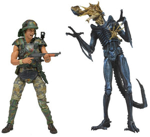 "Aliens - Hicks vs Battle Damaged Blue Alien - 7"" Scale Figures  - NECA"