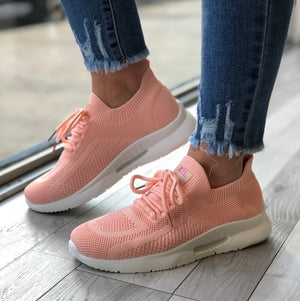 Xti - Peach Knitted Sock Trainer