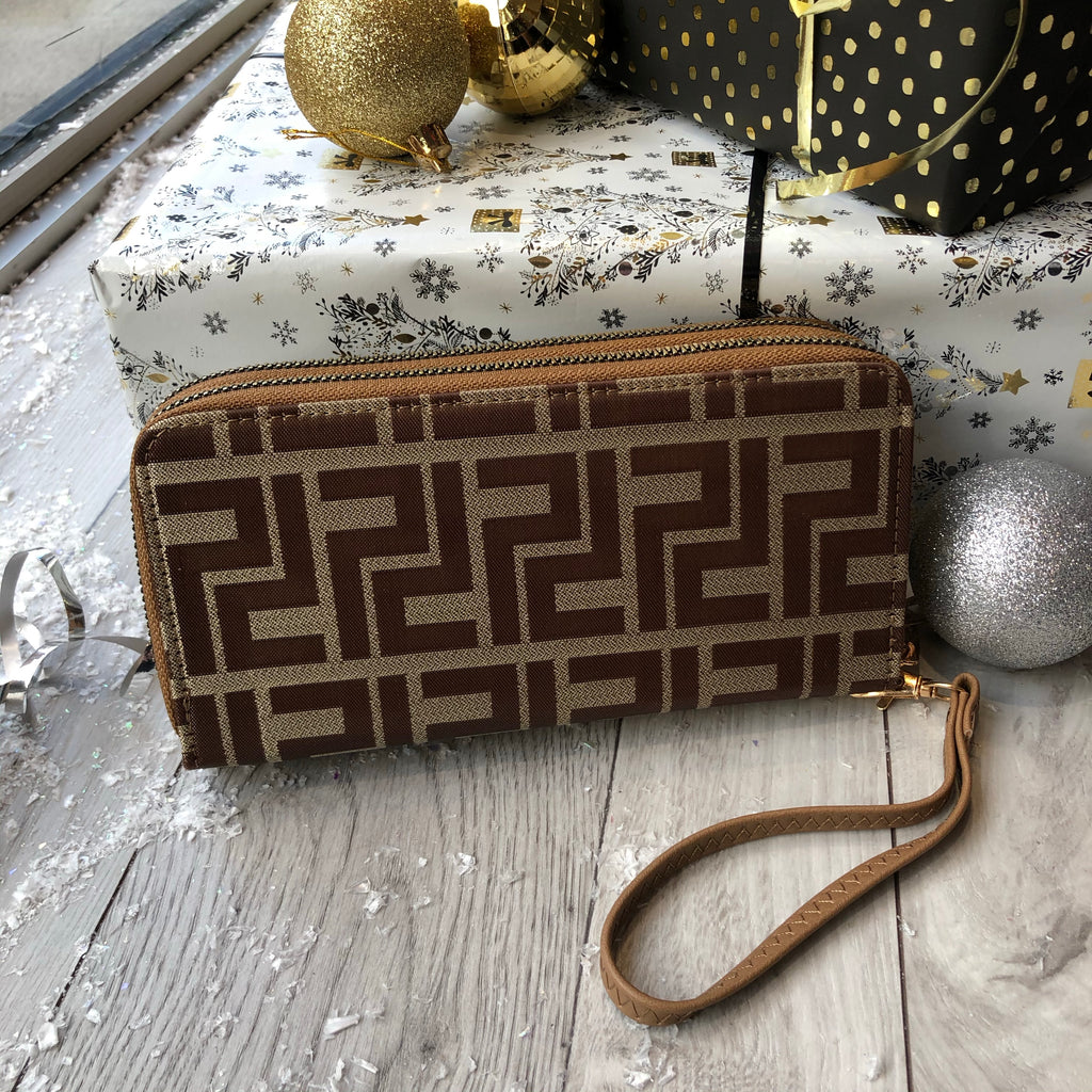Taupe Designer Inspired Double Zip Purse