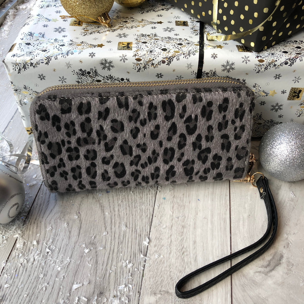 Grey Leopard Design Double Zip Purse
