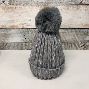 hannah k - Grey Bling Pom Pom Hat