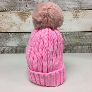 hannah k - Bright Pink Ribbed Teddy Pom Pom Hat