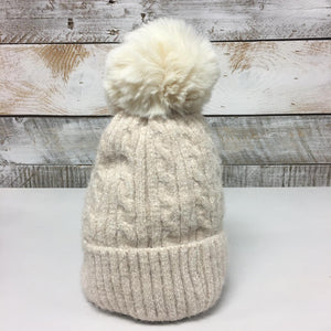 hannah k - Cream Lined Teddy Pom Pom Hat
