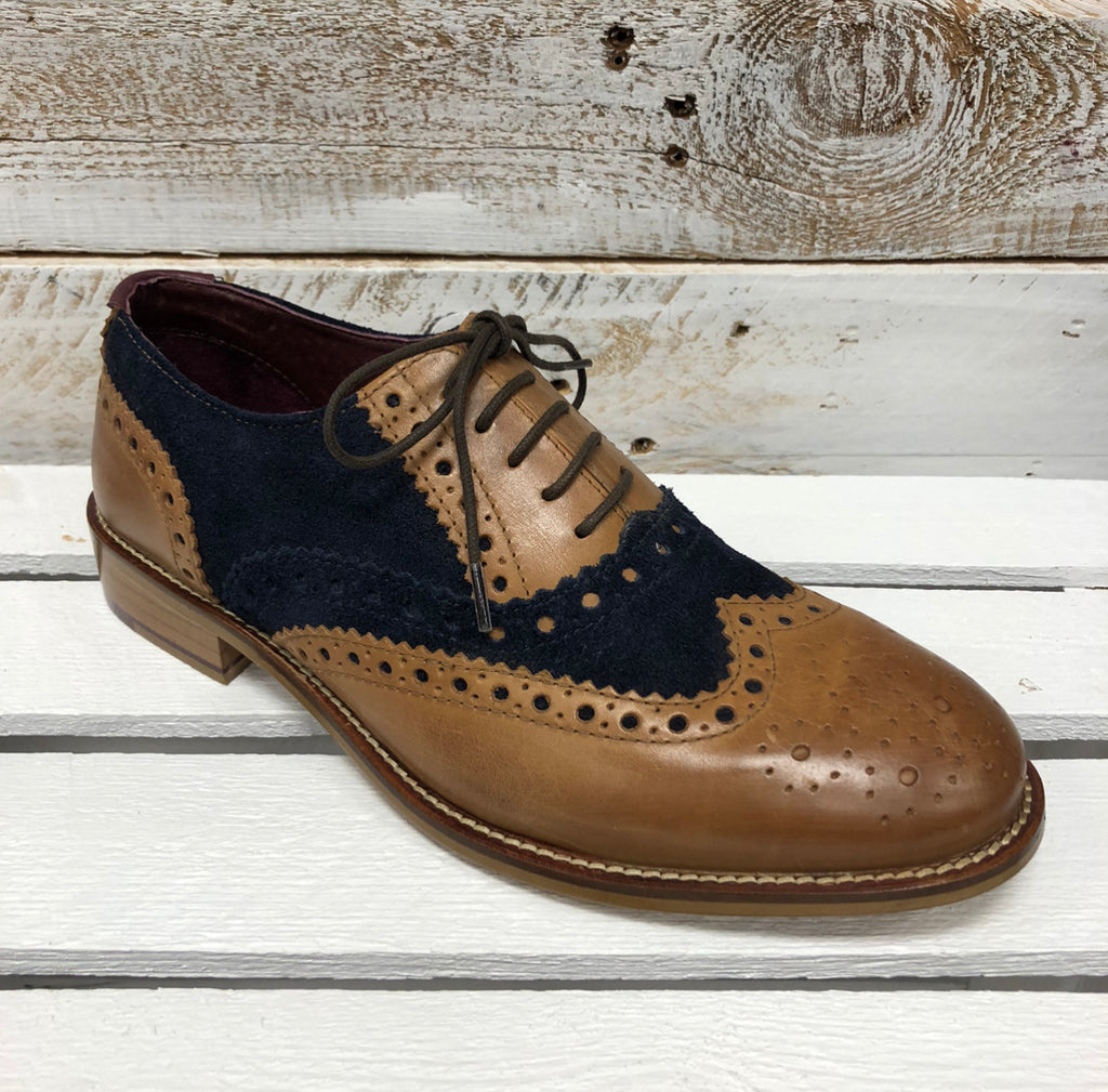London Brogues - Tan/Navy Leather Brogue