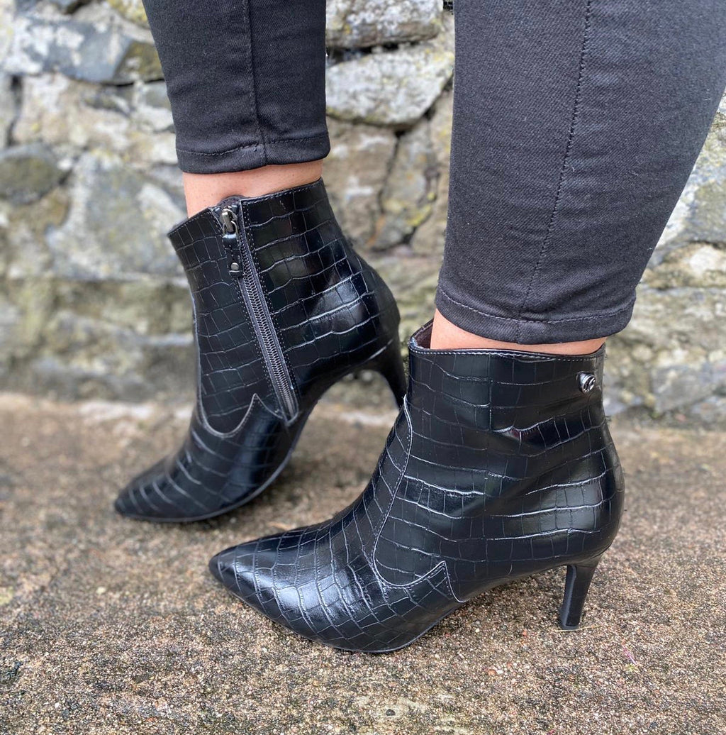 S Oliver- Black Croc Effect Heel Boot