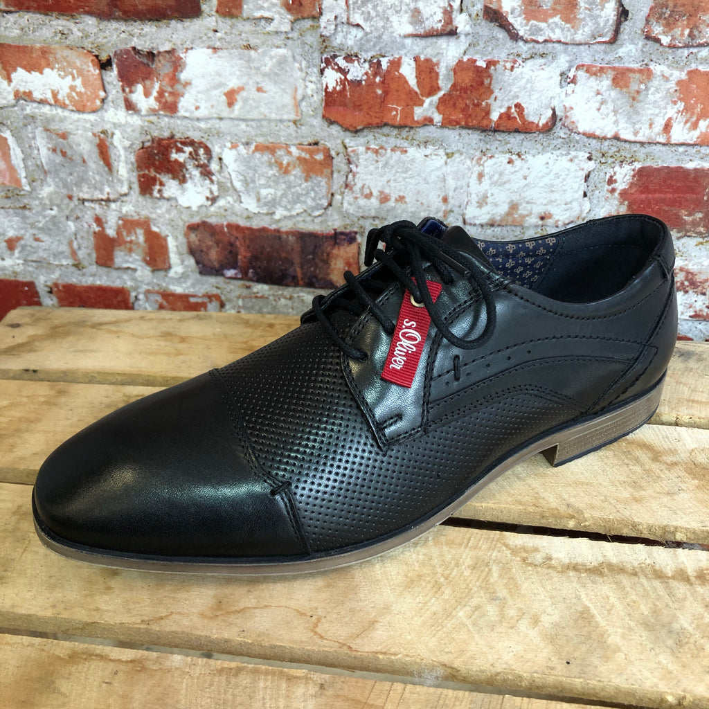 S Oliver - Black Leather So Flex Shoe
