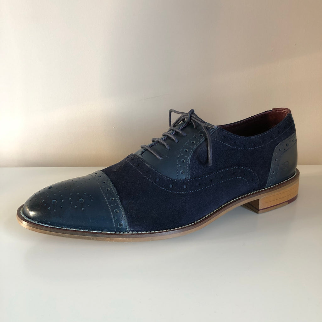 London Brogues - Navy Leather/Suede Brogue