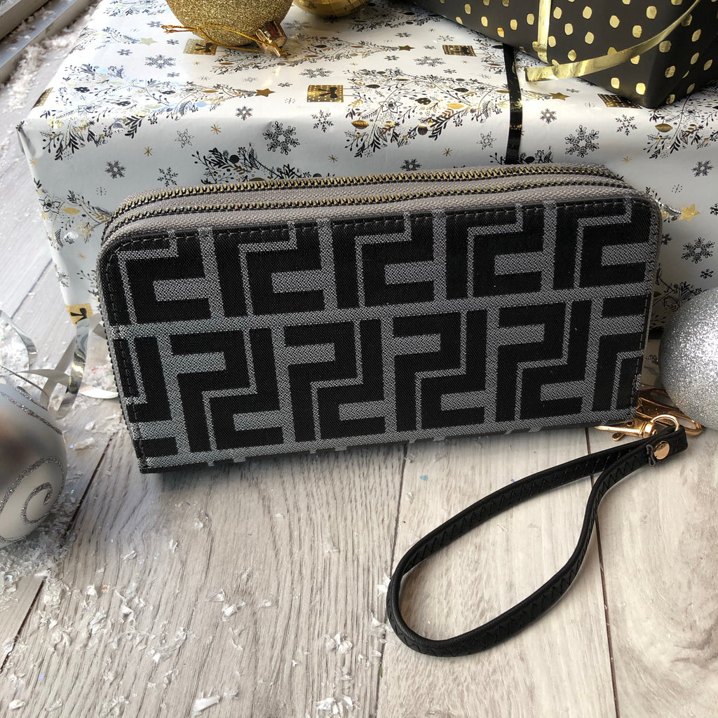 Grey Designer Inspired Double Zip Purse
