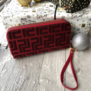 Red Designer Inspired Double Zip Purse