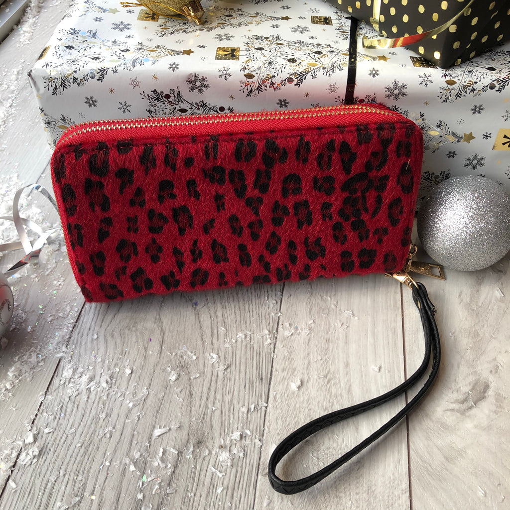 Red Leopard Design Double Zip Purse